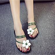 Žene Cipele PU Ljeto Udobne cipele Sandale Ravna potpetica Okrugli Toe za Obala Crn Zelen