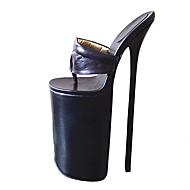 baratos Sapatos Femininos-Mulheres Sapatos Couro Ecológico Verão Plataforma Básica Saltos Salto Agulha Dedo Aberto Branco / Preto / Rosa claro / Festas & Noite