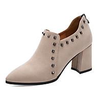 baratos Sapatos Femininos-Mulheres Sapatos Pêlo / Tule Primavera / Outono Gladiador / Plataforma Básica Saltos Salto Robusto Tachas Preto / Bege / Festas & Noite