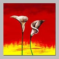 billiga Abstrakta målningar-Hang målad oljemålning HANDMÅLAD - Abstrakt Blommig / Botanisk Klassisk Duk