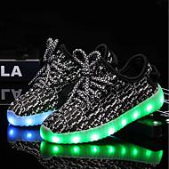 tanie Obuwie chłopięce-Dla dziewczynek Dla chłopców Buty Dzianina Siateczka Lato Jesień Świecące buty Tenisówki LED na Ślub Casual Black Gray