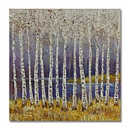 billiga Oljemålningar-styledecor® modern handmålade abstrakt det vita träet i den lila bakgrundsoljemålningen på duk för redo att hänga konst