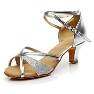 baratos Sapatilhas de Dança-Mulheres Sapatos de Dança Latina Paetês Salto Salto Personalizado Personalizável Sapatos de Dança Prata / Interior / Ensaio / Prática