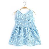 幼児 女の子 プリント ノースリーブ コットン ドレス ピンク / キュート