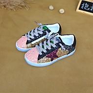 baratos Sapatos de Menina-Para Meninas Sapatos Couro Primavera Conforto Tênis para Dourado / Branco / Preto