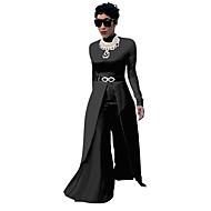 女性用 ストリートファッション ジャンプスーツ - すかしカット スリット パッチワーク, ソリッド