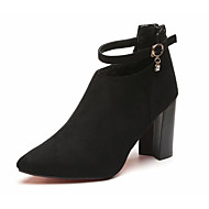 baratos 2018 Botas Femininas-Mulheres Sapatos Pele Nobuck Outono / Inverno Conforto / Curta / Ankle Botas Salto Robusto Botas Curtas / Ankle Preto / Cinzento / Vinho