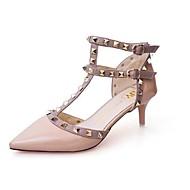 baratos Sapatos Femininos-Mulheres Sapatos Borracha Primavera Conforto Saltos Salto Baixo Dedo Apontado Preto / Vermelho / Rosa claro