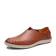 tanie Obuwie męskie-Męskie Buty Skóra Wiosna Jesień Comfort Mokasyny i pantofle na Casual Biuro i kariera Gray Brown Niebieski