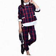 Kids Girls' Check Plaid Long Sleeve Short Short Cotton Clothing Set