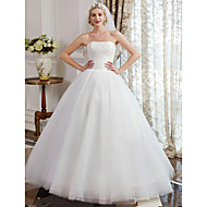 cheap Ball Gown Wedding Dresses-Ball Gown Strapless Floor Length Tulle Over Lace Custom Wedding Dresses with Lace by LAN TING BRIDE®