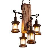 billige Takbelysning og vifter-4-Light Industriell Anheng Lys Omgivelseslys Tre / Bambus Mini Stil 110-120V / 220-240V Pære ikke Inkludert / E26 / E27