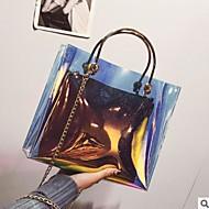 baratos Bolsas Tote-Mulheres Bolsas PVC Tote Ziper Azul / Dourado / Bolsas transparentes / Sacos de geléia a laser