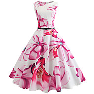 Mulheres Para Noite Vintage Algodão Delgado balanço Vestido - Estampado, Floral Altura dos Joelhos