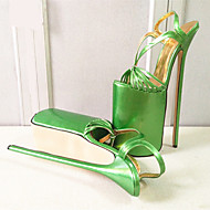 baratos Sapatos Femininos-Mulheres Sapatos Couro Ecológico Verão Plataforma Básica Saltos Salto Agulha Dedo Aberto Vermelho / Verde / Azul Claro / Festas & Noite