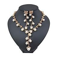 Dame Imiteret Perle / Guldbelagt Blomster Smykkesæt 1 Halskæde / Øreringe - Blomster / Mode Guld Smykke Sæt / Brude Smykke sæt Til