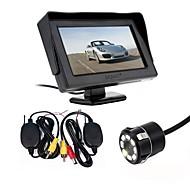 billiga Parkeringskamera för bil-ziqiao parkeringshjälp 2,4g trådlös 4,3 tums tt lcd spegelmonterad bil bakre bildkamera omvänd nattvakt natsensor