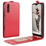 billiga Mobil cases & Skärmskydd-fodral Till Huawei P20 Pro P20 Korthållare Lucka Fodral Enfärgad Hårt PU läder för Huawei P20 lite Huawei P20 Pro Huawei P20 P10 Plus P10