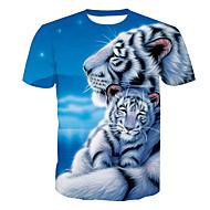 Χαμηλού Κόστους -Ανδρικά T-shirt Ενεργό Ζώο Στρογγυλή Λαιμόκοψη Στάμπα Τίγρης / Κοντομάνικο