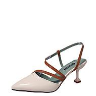baratos Sapatos Femininos-Mulheres Sapatos Couro Ecológico Verão Chanel / Plataforma Básica Saltos Caminhada Salto Sabrina Dedo Apontado Bege / Amarelo / Rosa claro