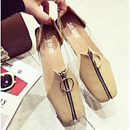baratos Sapatos Femininos-Mulheres Sapatos Couro Ecológico Primavera / Outono Shoe transparente Rasos Sem Salto Ponta quadrada Preto / Amêndoa