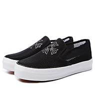 baratos Sapatos Femininos-Mulheres Sapatos Lona Verão Mocassim Mocassins e Slip-Ons Sem Salto Ponta Redonda Branco / Preto