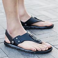 お買い得  特別セール-男性用 靴 ポリ塩化ビニール 夏 コンフォートシューズ スリッパ&フリップ・フロップ ブラック / カーキ色