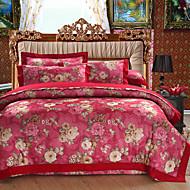 tanie Floral Duvet Okładki-Zestawy kołdra okładka Kwiaty / Luksus 100% bawełna / Bawełniana Tkanina Bawełniana Żakard 4 elementy