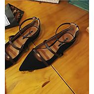 お買い得  レディースフラットシューズ-女性用 靴 スエード 春夏 コンフォートシューズ フラット チャンキーヒール ブラック / ダークブラウン