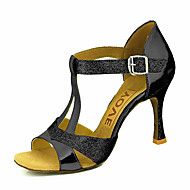 cheap Dance Shoes-Women's Latin Shoes / Salsa Shoes PU(Polyurethane) Sandal / Heel Buckle / Ribbon Tie Customized Heel Customizable Dance Shoes Silver / Blue / Gold / Performance / Professional
