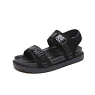 お買い得  レディースサンダル-女性用 靴 キャンバス 夏 コンフォートシューズ サンダル ローヒール ラウンドトウ のために 誕生日 ブラック / グリーン