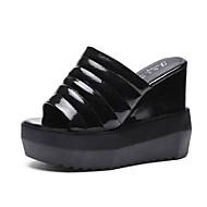 cheap -Women's PU(Polyurethane) Summer Comfort Slippers & Flip-Flops Wedge Heel Round Toe White / Black