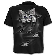 Χαμηλού Κόστους -Ανδρικά T-shirt Κομψό στυλ street Συνδυασμός Χρωμάτων Ζώο Στάμπα