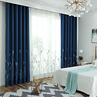 Blackout Curtains Drapes Living Room Floral 100%Polyester Faux Linen  Embroidery