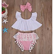 Bebek Genç Kız Temel Günlük Zıt Renkli Kolsuz Normal Pamuklu Kıyafet Seti Doğal Pembe / Toddler