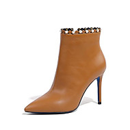 baratos Sapatos Femininos-Mulheres Sapatos Pele Outono & inverno Botas da Moda Botas Salto Agulha Dedo Apontado Botas Curtas / Ankle Tachas Preto / Khaki