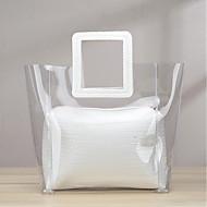 baratos Bolsas Tote-Mulheres Bolsas PVC / Vinil Tote Com Relevo Branco / Marron / Bolsas transparentes