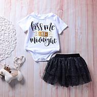 幼児 女の子 ブラック&ホワイト ソリッド / 水玉 / 波点 / プリント 半袖 アンサンブル
