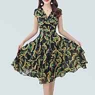 Women's Sophisticated Boho Sheath Swing Dress - Floral Print