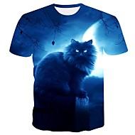 Ανδρικά Μεγάλα Μεγέθη T-shirt Βασικό Ζώο Στρογγυλή Λαιμόκοψη Στάμπα Γάτα Θαλασσί XXL / Κοντομάνικο / Καλοκαίρι