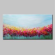 billiga Abstrakta målningar-Hang målad oljemålning HANDMÅLAD - Abstrakt / Blommig / Botanisk Moderna Duk