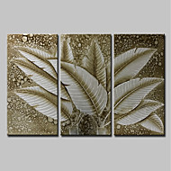 billiga Blom-/växtmålningar-Hang målad oljemålning HANDMÅLAD - Abstrakt / Blommig / Botanisk Moderna Inkludera innerram / Tre paneler / Sträckt kanfas