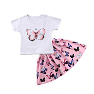 Dijete koje je tek prohodalo Djevojčice Rukav leptir Jednobojni / Print Kratkih rukava Komplet odjeće