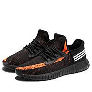 tanie Obuwie męskie-Męskie Komfortowe buty Dzianina Jesień Adidasy Czarny biały / Pomarańczowy / czarny