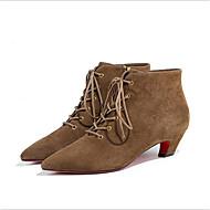 baratos Sapatos Femininos-Mulheres Couro Inverno Conforto Botas Salto Robusto Preto / Khaki