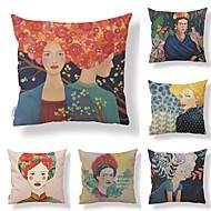 baratos Mais Populares-6 pçs Téxtil / Algodão / Linho Fronha, Art Deco / Retro / Estampado Forma Quadrada / Tom / Decoração