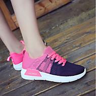 baratos Tênis Feminino-Mulheres Sapatos Tule Outono & inverno Bailarina Tênis Sem Salto Ponta Redonda Fúcsia / Vermelho / Rosa claro