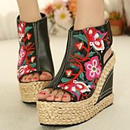 baratos Sapatos Femininos-Mulheres Sapatos Pele de Carneiro Primavera Verão Inovador Sandálias Salto Plataforma Dedo Aberto Preto