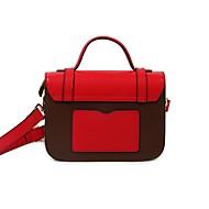 baratos Bolsas Satchel-Mulheres Bolsas couro legítimo Bolsa Carteiro Botões Vermelho / Bege / Cinzento Claro