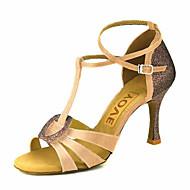 baratos Sapatilhas de Dança-Mulheres Sapatos de Dança Latina / Sapatos de Salsa Cetim Sandália / Salto Presilha / Cadarço de Borracha Salto Personalizado Personalizável Sapatos de Dança Bronze / Amêndoa / Nú / Espetáculo